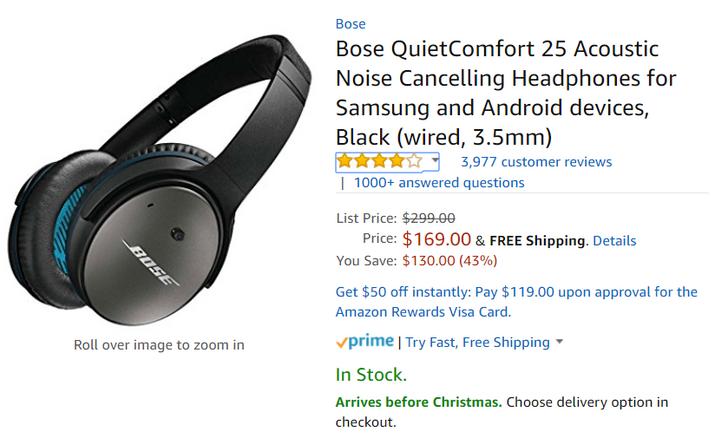 [Deal Alert] Bose QuietComfort 25 ANC headphones are $169 on Amazon ($130 off MSRP)
