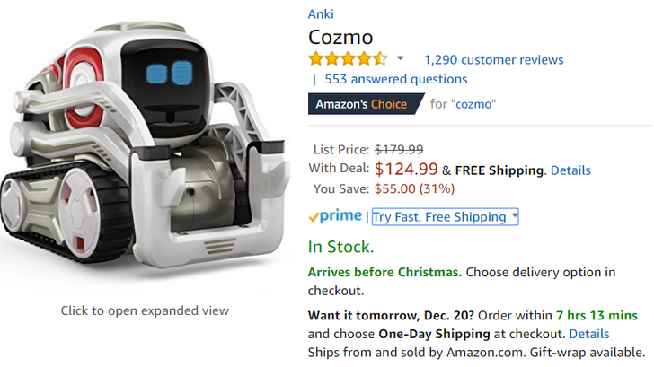 [Deal Alert] Anki's Cozmo and Overdrive are down $50-55 on Amazon (about 30% off)