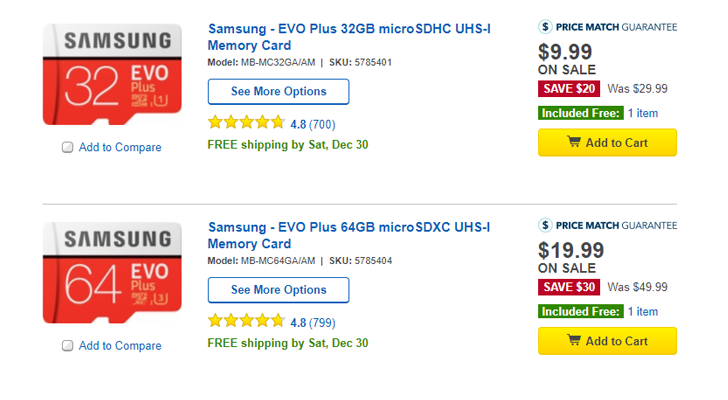[Deal Alert] Samsung Evo Plus microSD cards from Best Buy are $10 ($20 off) for 32GB and $20 ($30 off) for 64GB