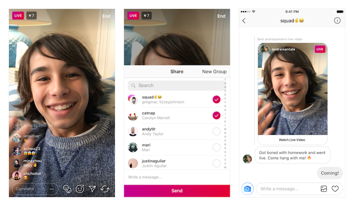 Instagram now lets you directly nag your friends to watch your live video