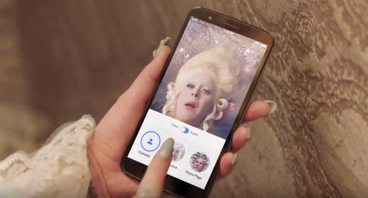 Katy Perry uses Google Duo to video chat with Prince Piggy and Lord Markus in her new eccentric music video