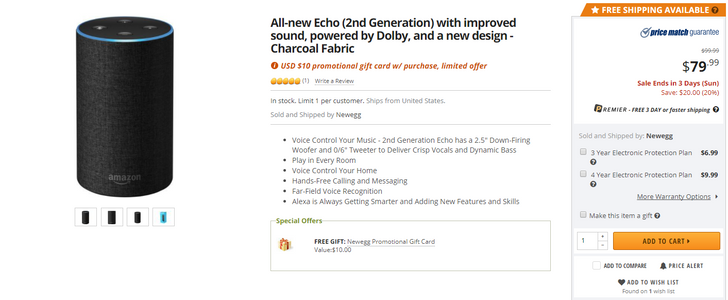 [Deal Alert] Newegg is offering a second-generation Amazon Echo for $80 ($20 off), plus a $10 gift card