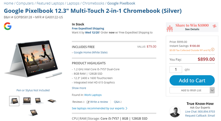 [Deal Alert] Pixelbook is $100 off ($899+) with free Google Home from B&H, Best Buy, and Google, $100 off with $50 credit from Amazon