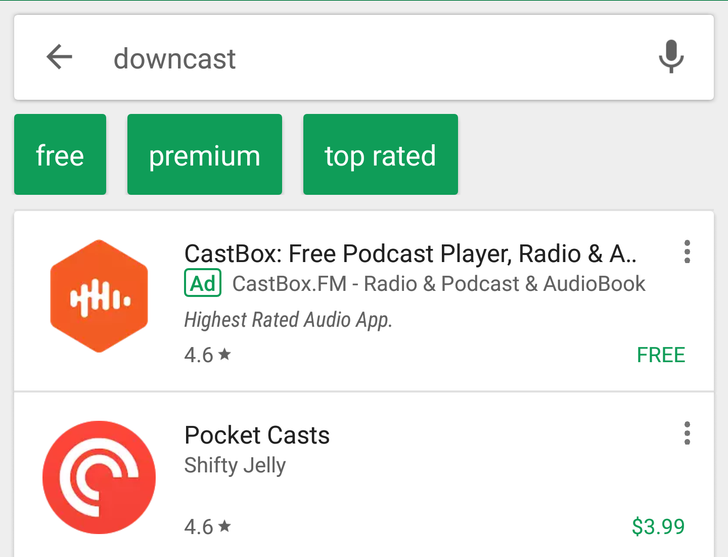 Google Play Store starts showing free and premium filters for searches