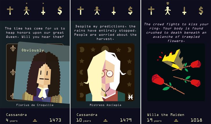 Navigate royal politics and intrigue with a swipe in Reigns: Her Majesty from DevolverDigital