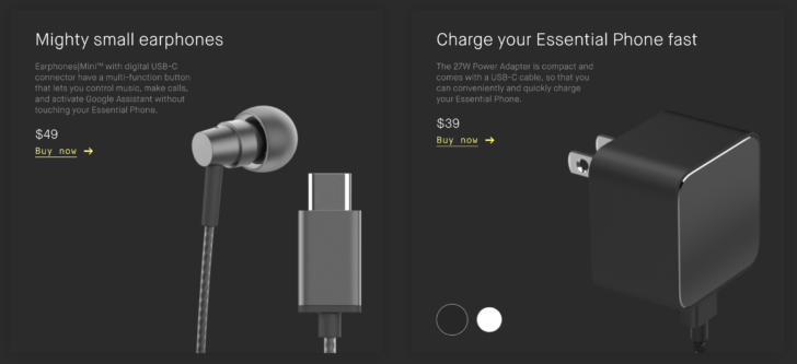 Essential has some new accessories available, including USB-C earbuds and a fast charger