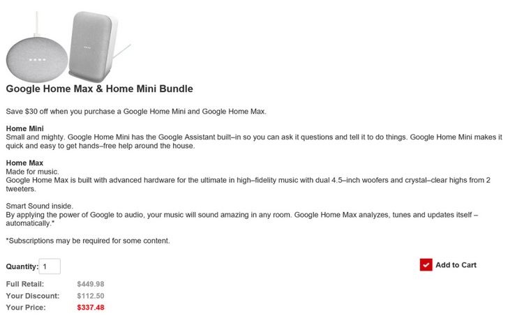 [Update: 2 Home Minis for $37.49] Deal alert: Verizon Business customers can get a Google Home Max and Home Mini for just $337.48 (25% off)