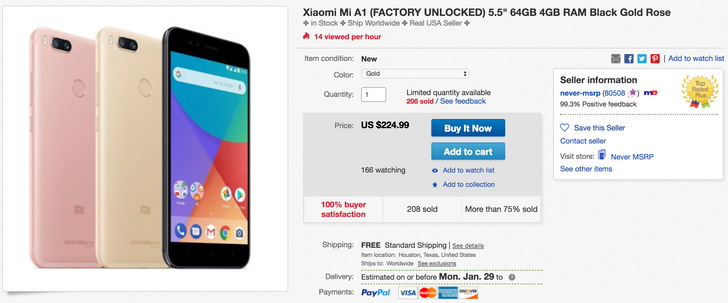 [Deal Alert] Xiaomi Mi A1 is down to $225 on eBay