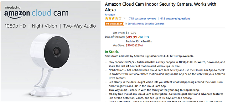 [Deal Alert] Amazon Cloud Cam is $89.99 ($30 off) as part of Amazon's Deal of the Day