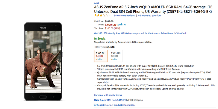 [Deal Alert] ASUS ZenFone AR falls to $499.99 ($100 off) on Amazon