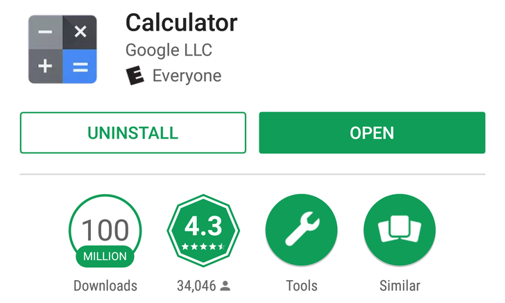 Google's Calculator app hits 100 million downloads on the Play Store