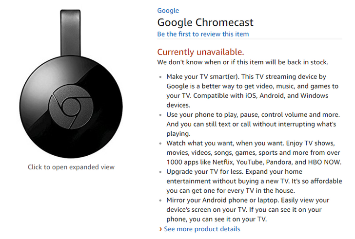 Amazon still isn't selling the Chromecast, nearly three months after initial announcement