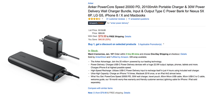 [Deal Alert] Anker PowerCore Speed 20000 with USB-C PD is $79.99 ($20 off) on Amazon