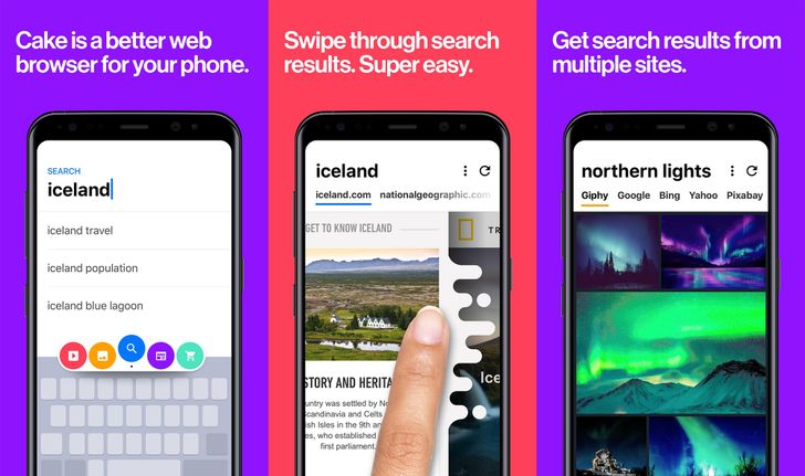 Cake is a new mobile browser with swipeable search
