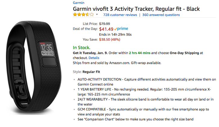 [Deal Alert] Garmin vivofit 3 is just $41.49 ($38.50 off) in Amazon's Deal of the Day