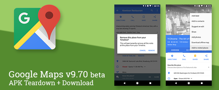 Google Maps v9.70 beta enables adding and removing visited places, prepares to display showtimes and sell tickets, continues work on shortcuts, and much more [APK Teardown]