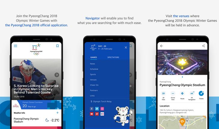 The official app of the PyeongChang 2018 Olympics is available for download