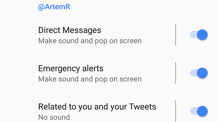 Twitter quietly added Notification Channel support to its Android app