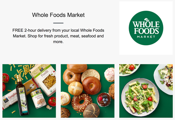 Amazon's two-hour Prime Now delivery service now offers Whole Foods groceries in select cities