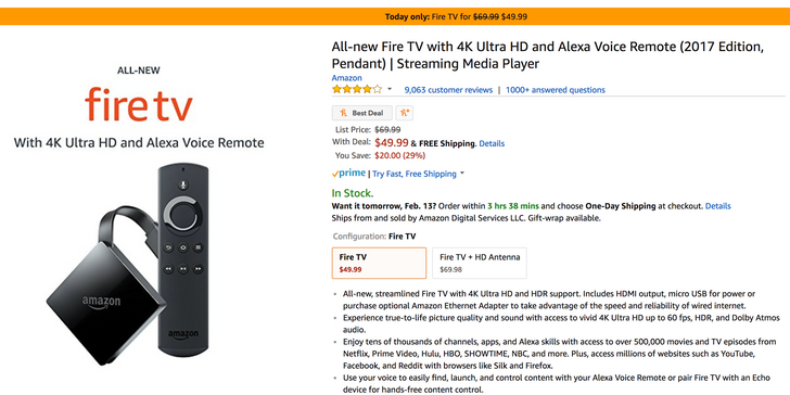 [Deal Alert] New 2017 Fire TV with 4K and Alexa Voice Remote for $49.99 ($20 off)