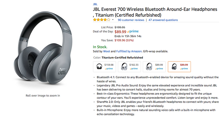 [Deal Alert] Refurbished JBL Everest 700 Bluetooth headphones are $89.99 on Amazon for today only