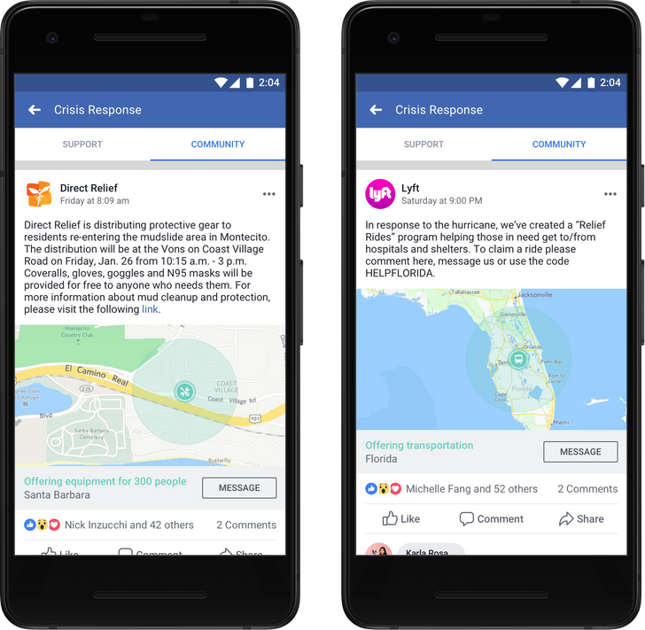 Facebook will allow select companies and organizations to post in 'Community Help' during a crisis