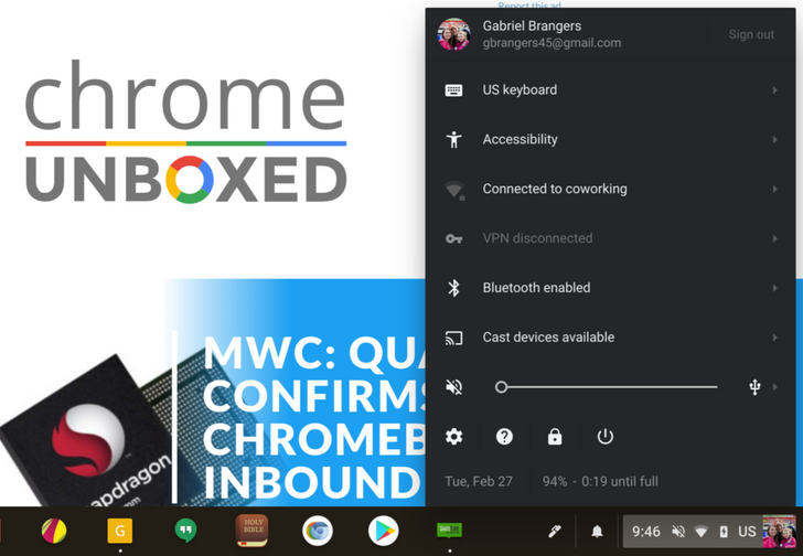 Chrome OS is testing a dark system tray option in Developer and Canary channels