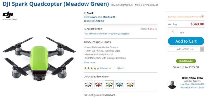 [Deal Alert] The DJI Spark with remote controller is $349 at B&H