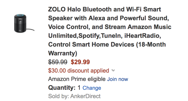 [Deal Alert] Get a Zolo Halo Alexa speaker for $29.99 ($30 off) with Amazon coupon code