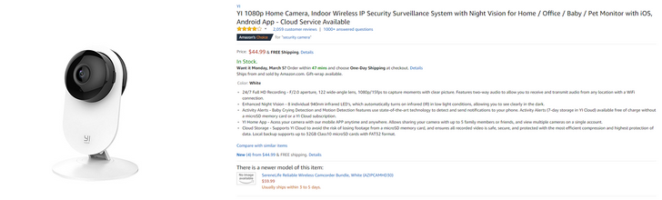 [Deal Alert] YI 1080p Home Camera down to $45 on Amazon ($15 off)