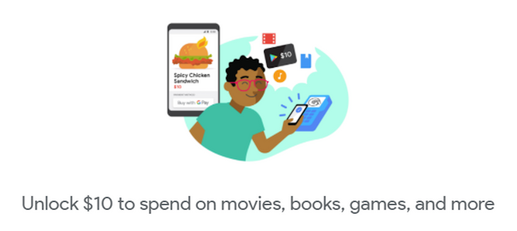 [Update x2: Extended to August 31] Get a $10 Google Play credit when you make five purchases with Google Pay in the US, UK, Canada, and Australia