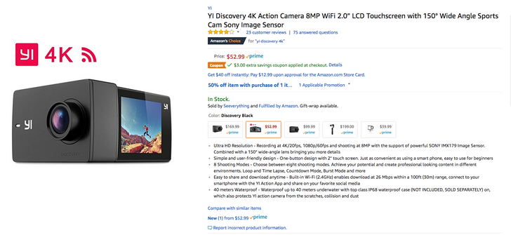 [Deal Alert] YI Discovery 4K action cam down to $47.99 ($5 off) on Amazon with code