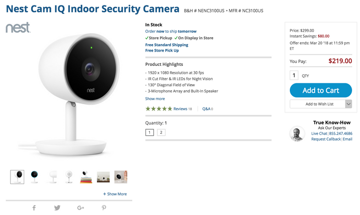 [Deal Alert] Nest Cam IQ Indoor down to $219 ($80 off), Cam Outdoor to $169 ($30 off) at B&H