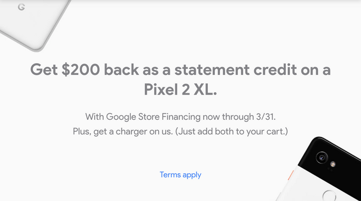 [Deal Alert] Pixel 2 XL now offered with $200 statement credit via Google Store Financing, free 18W charger