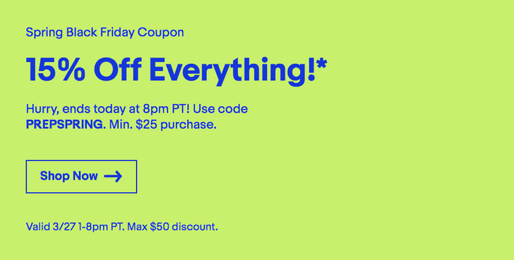 [Deal Alert] eBay is offering 15% off anything yet again with a code, discount capped at $50