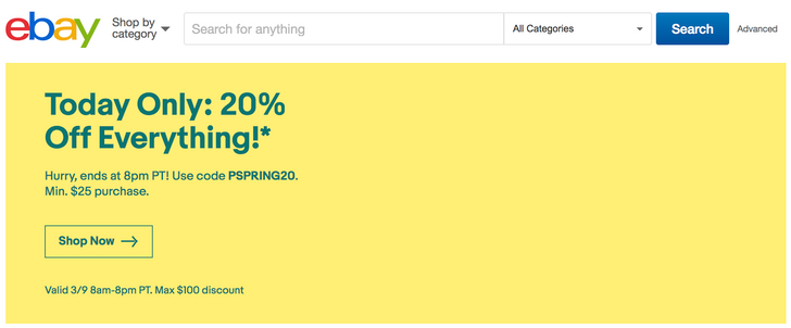 [Deal Alert] Everything is 20% off on eBay for today only, capped at a $100 discount