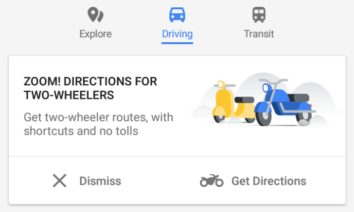 Google Maps two-wheelers mode spreads to Indonesia