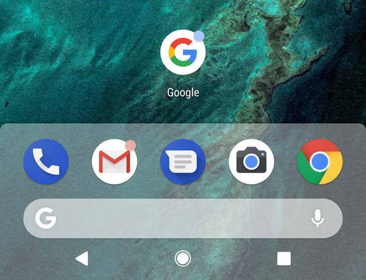 [Update: Work and Personal tabs in drawer] Android P feature spotlight: The Pixel Launcher's dock is now shaded (APK Download)