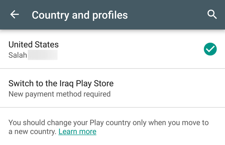 It's now a little bit easier to change your country in the Google Play Store
