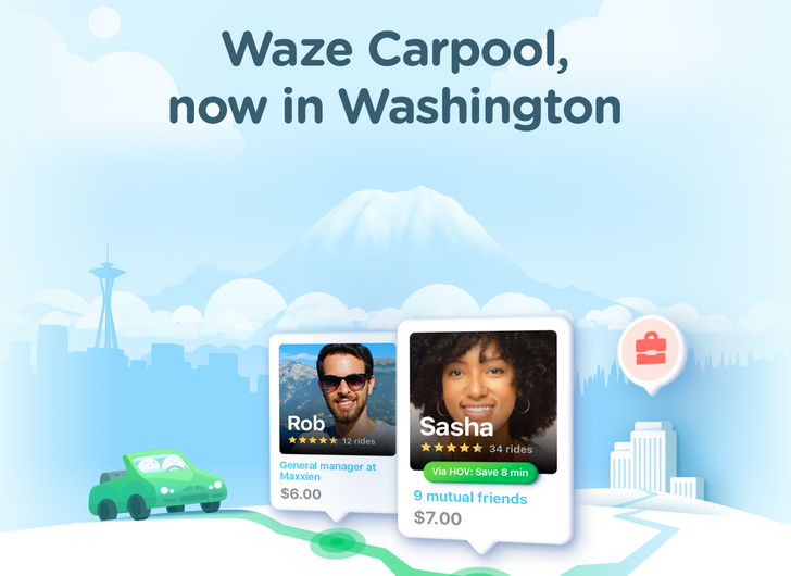 Waze Carpool is now available in Washington State