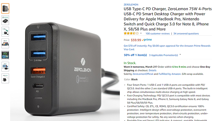 [Deal Alert] Get the ZeroLemon USB-PD/QC 3.0 wall charger for $30 after $30 off code on Amazon