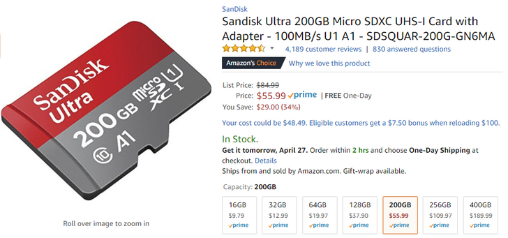 [Deal Alert] SanDisk 200GB microSD card drops to $55.99 on Amazon