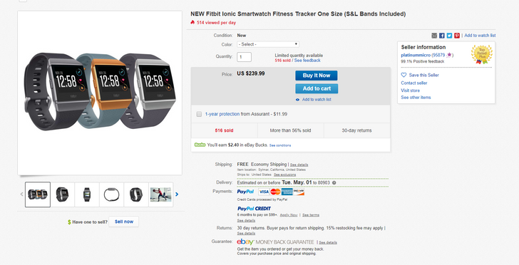 [Deal Alert] Fitbit Ionic down to $240 on eBay ($60 off)