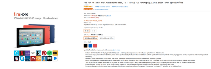 [Deal Alert] $50 off Amazon Fire HD 10, starting at $100