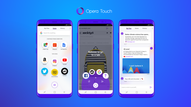 Opera Touch is a brand new mobile browser built around convenience