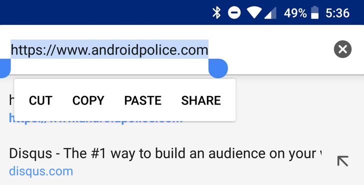 Chrome now consistently selects the entire URL when you long press on it