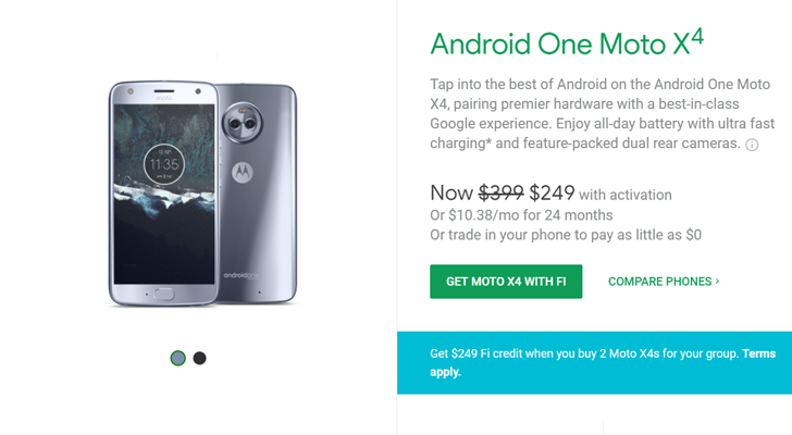 [Deal Alert] Buy two Moto X4s from Project Fi and get $249 of service credit (BOGO)