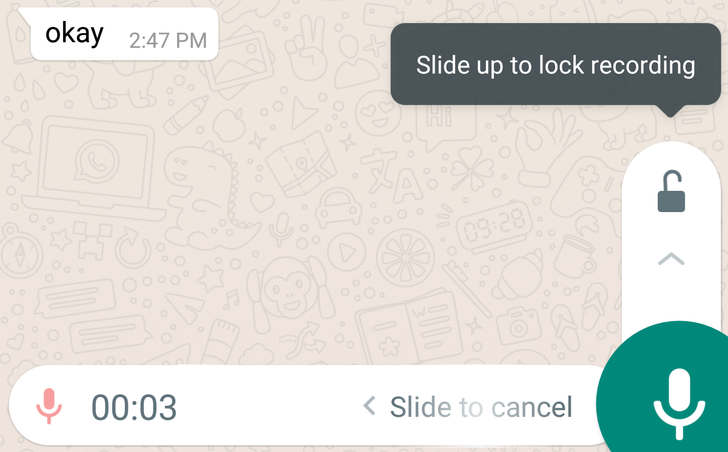 WhatsApp 2.18.102 brings a voice note recording lock option