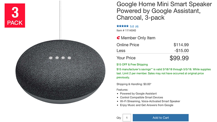 [Deal Alert] Google Home Mini 3-pack is $100 ($15 off) at Costco
