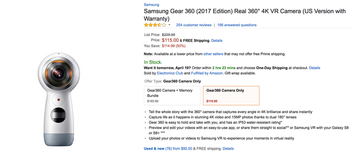 [Deal Alert] Samsung Gear 360 (2017) is $115 on Amazon (50% off MSRP) or $113 from third-party sellers
